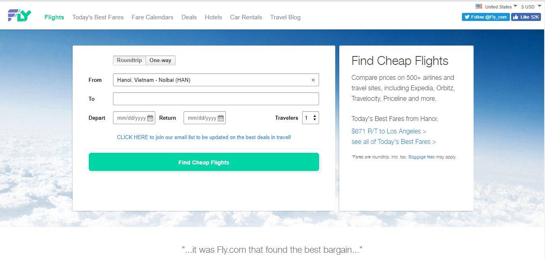 Giao diện trang tìm vé máy bay giá rẻ Fly.com