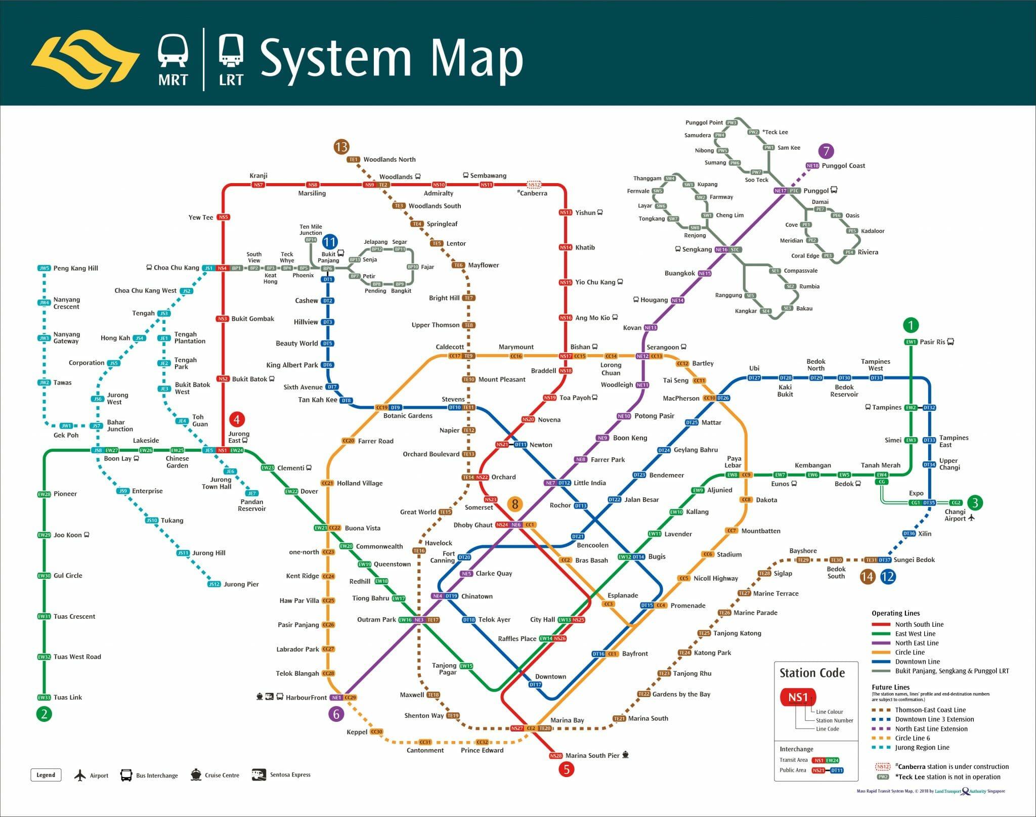Bản đồ tàu điện ngầm MRT tại Singapore