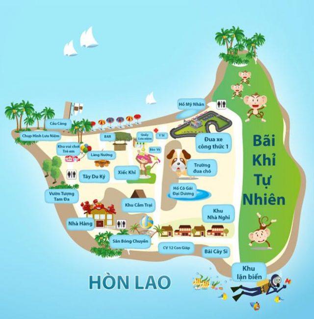 Sơ đồ đảo khỉ ở Nha Trang ( ảnh sưu tầm)