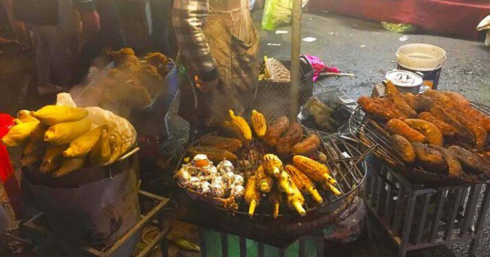 Khoai lang nướng và ngô nướng ở chợ đêm Đà Lạt (ảnh internet)