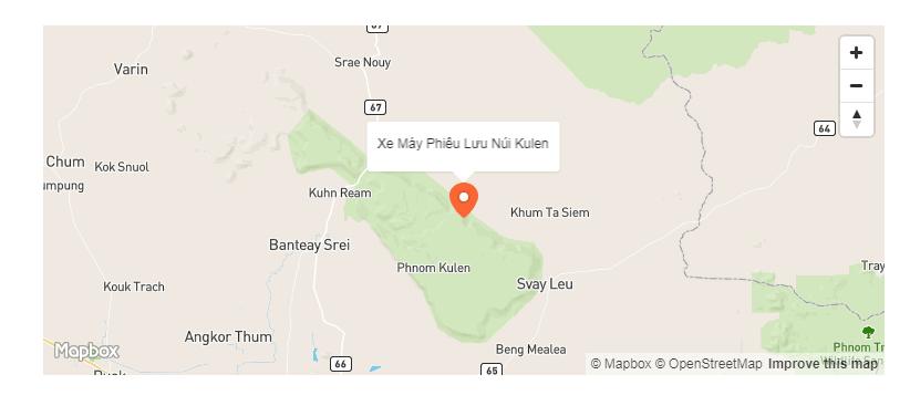 Bản đồ vị trí đi xe máy đến thác núi Kulen