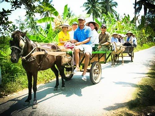 Đi dạo bằng xe ngựa ở Cồn Phụng (ảnh sưu tầm)