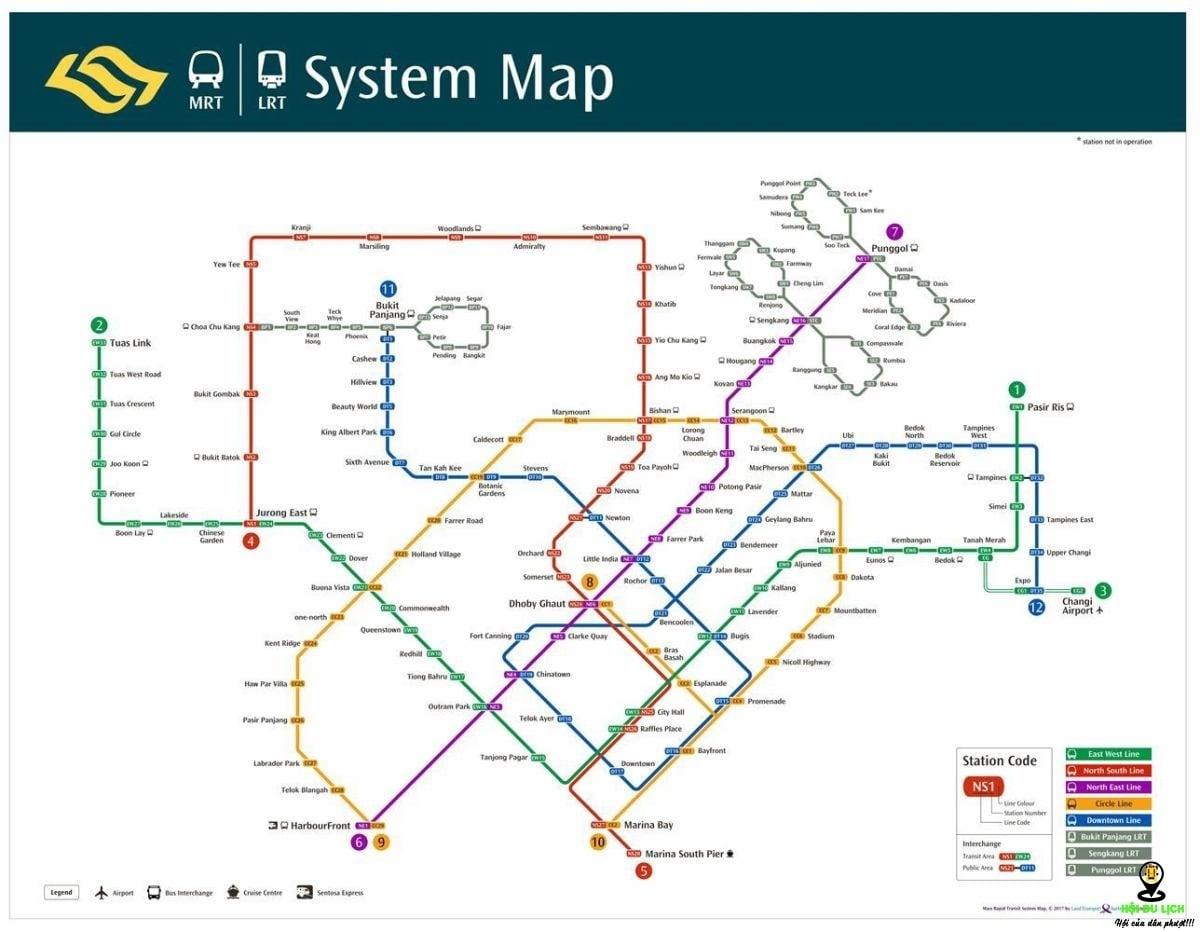 Bản đồ xe chạy của MRT | Nguồn: MRT.SG