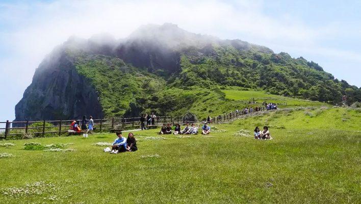Bãi cỏ xanh mướt bên núi