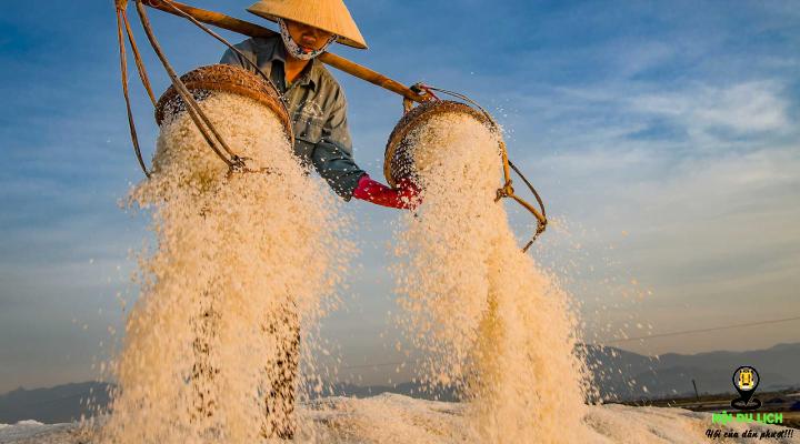Người dân lao động với đôi quang gánh trên đồng muối