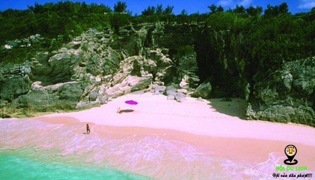Bờ biển Pink Sands với bãi cát dài màu hồng.