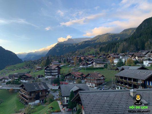 Bức tranh thị trấnGrindelwald, Switzerland